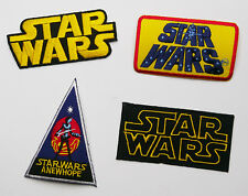 """STAR WARS """"Classic Trilogy Title Logos"""" ... Set of 4 Embroidered Patches #S40"""