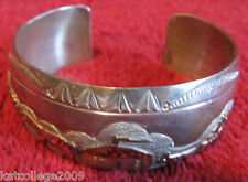 TA Begay Sterling Silver Navajo 12k GF Storyteller Cuff Bracelets gold filled