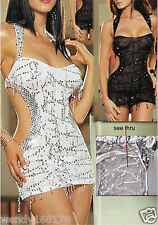 Sexy Iridescent Silver White Nylon Clubwear Mini Dress with Thong(Free sz)61622