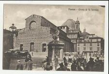 vecchia cartolina di  firenze chiesa di san lorenzo con molte persone