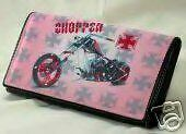 Women's CHOPPER Faux Leather Wallet/ Checkbook w BLING!