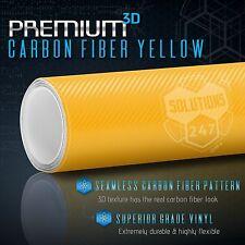 """3D Yellow Carbon Fiber Matte Vinyl Wrap Bubble Free Air Release 24"""" x 60"""" In"""
