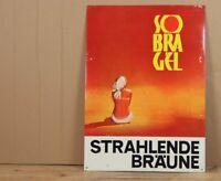 älteres Blechschild - Sobra Gel , strahlende Bräune - wohl 1960er/70er Jahre /H7