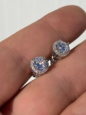 Hip Hop Earrings Studs Small Round Men's Real Solid Sterling Silver Iced Diamond