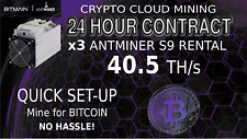 CLOUD MINING Contract x3 S9 Antminer Rental Bitcoin HASHING 40.5 Th/s Crypto BTC