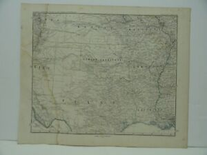 Original 1873 Map of Indian Territory & Surrounding States Stieler's Hand Atlas