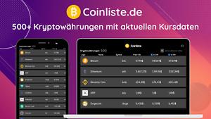 Coinliste.de Website + Apps (PWA) 500+ Kryptowährungen mit Kursdaten