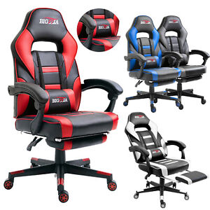 Gaming Chair Home Office Computer PC Desk Chair Swivel Lift with Pillow Footrest