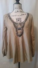 Max Studios Sz Small Tan Long Sleeve Blouse with Silver Metal Beaded Accents