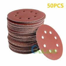50 x 125MM 8 Bores 40 60 80 100 120 Grit Orbital Sandpaper Discs Sanding Sheet