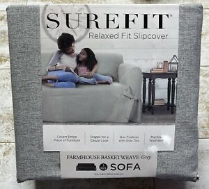 Surefit 1 Piece Sofa Slipcover Relaxed Fit Farmhouse Basketweave Gray