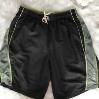 Speedo -Size XL- Men's Black Gray Color Block Volley Swim Shorts Polyester