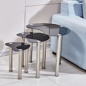 Modern Glass Nest of 3 Tables Black Nested Side End Corner Sofa Table Set Cara