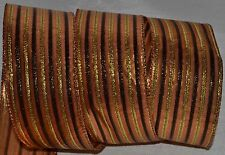 Wired Ribbon~Metallic Fall Stripe~Orange~Brown~Gold~Halloween~Thanksgiving~Bow