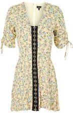 BN TOPSHOP SUMMER YELLOW FLORAL HOOK & EYE MINI BOHO DRESS TUNIC SIZE 6~14 WOW!!
