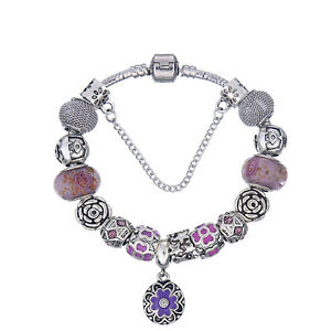 NEW MC Silver Purple Enamel Flower Rose Murano Beads Charm European Bracelet