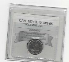 **1971** Coin Mart Graded Canadian,  10  Cent, **MS-65** ICCS # WL 793