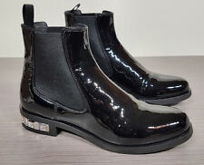 MIU MIU Patent leather Embelished Heel Chelsea boots Womens Size 5 / 35  $1190