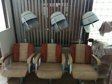 VINTAGE 60s contessa 8 chairs (3 attached 5 loose) hair dryer working order