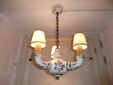 French  vintage 3 light chandelier ceramic with shades pretty floral detailed