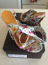 AUTH Gucci Flora Satin Wedge Heel Shoes/Sandals w/original Receipt