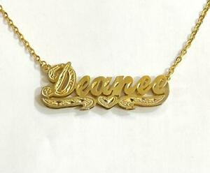 14k Gold Overlay Personalized 3D Name Necklace Plate /#DD1