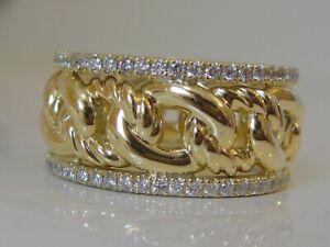 DAVID YURMAN 18K GOLD WEDDING ETERNITY CURB LINK BAND PAVE DIAMOND RING