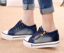 Lace Up Womens Lady Sneakers Denim Casual Plimsoll Canvas Shoes Creeper Platform