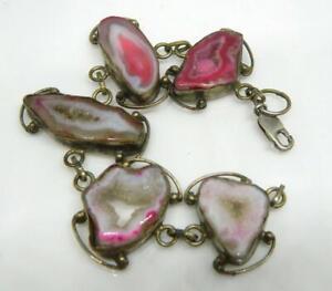 """Hand Made Artisan 925 Sterling Silver Pink Quartz Geode Druzy Link Bracelet 7"""""""