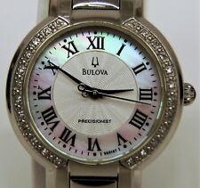 Ladies Bulova Precisionist C860997 MOP Dial Diamond Bezel S/S Quartz Watch C0406