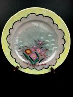 Lusterware Dish Round Made in Japan Spring Flowers and Birds in flight