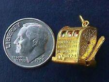 Vintage gold LAS VEGAS SLOT MACHINE MOVEABLE GAMBLING charm MOVABLE SPINS #M