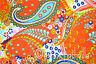 Indian Hand Block Print Fabric Orange Paisley Sewing Material Craft 10 Yard