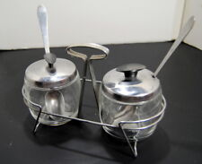 Vintage Set of Two Glass Foley Jelly Jars w/ Metal Spoons Tray Condiment Server