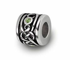 Stainless Steel Celtic Beads / Irish Charms With Green CZ For European Bracelets
