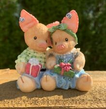 Vintage This Little Piggy Enesco Merry Kisses and Hogs Numbered 1995 Pig Figurin