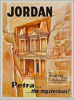 Petra the Mysterious! Jordan Middle East Vintage Travel Ad Art Poster Print
