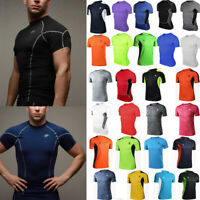 Mens Short Sleeve Fitness Quick Dry Breathable Running T-shirt Muscle Tops