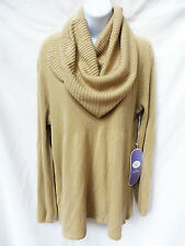 NWT DG2 Diane Gilman Womens Tan Brown Cowl Neck Ribbed Knit Pullover Sweater L