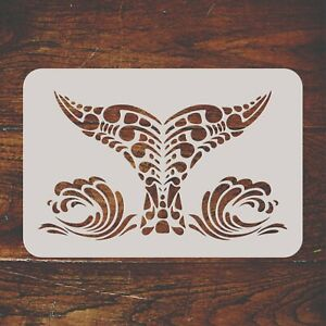 Whale Tail Stencil Reusable Tribal Ethnic Maori Orca Blue Whale Wall Template