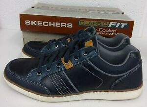 SKECHERS LANSON ROMETO NAVY LEATHER TRAINERS SHOES - SIZE 9 UK / 43