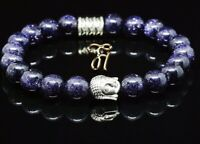 Blaufluss blau glänzend Armband Bracelet Perlenarmband Buddhakopf silber 8mm