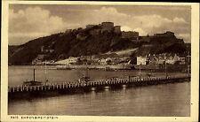 Koblenz Ehrenbreitstein alte Ansichtskarte ~1910 Gesamtansicht mit Burg Brücke