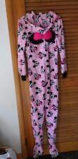 Disney Minnie Mouse ONe piece fleece union suit fleece with feet and hood size M