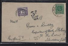 GOLD COAST (P1609B) KGV 1/2D FRONT TO ENGLAND POST DUE 3D  FRONT ONLY