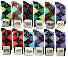 New 12 Pairs VIVA Mens Argyle Style Cotton Dress Socks Size 10-13 Multi Colors