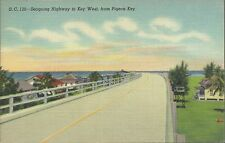 Old Vintage Highway To Key West From Pigeon Key, Florida Linen Postcard