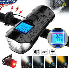 Rechargeable Bike Light Front Rear Headlight Taillight Usb Bicycle Speedometer