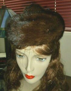 Mink Fur Beanie Hat w Mink Foot on Top Flemington Furs Brown w Inside Hair Combs