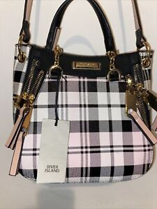 River Island Check Tartan Pattern Zips New Handbag Womens Bag NWT